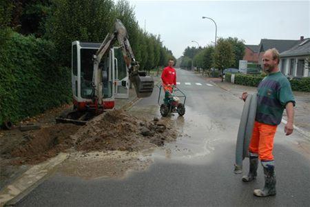 Waterleiding lek voor de meter
